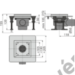 ALCAPLAST APV130 Rozsdamentes padlóösszefolyó 130×130 mm vízszintes, rács nélkül, vizes bűzzár