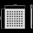 ALCAPLAST MPV014 Rozsdamentes rács a rozsdamentes padlóösszefolyókhoz 102×102 mm