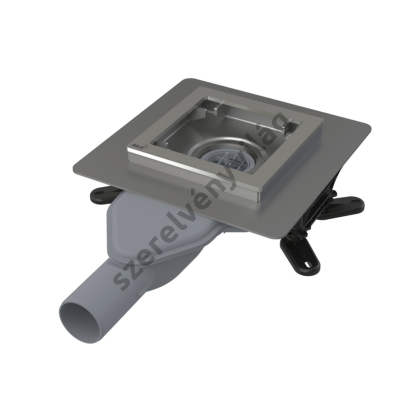 ALCAPLAST APV110 Rozsdamentes padlóösszefolyó extra-alacsony 130×130 mm vízszintes, rács nélkül, vizes bűzzár