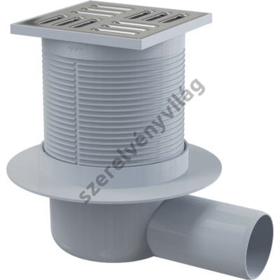 ALCAPLAST APV1 Padlóösszefolyó 105×105/50 mm vízszintes, rozsdamentes rács, vizes bűzzár