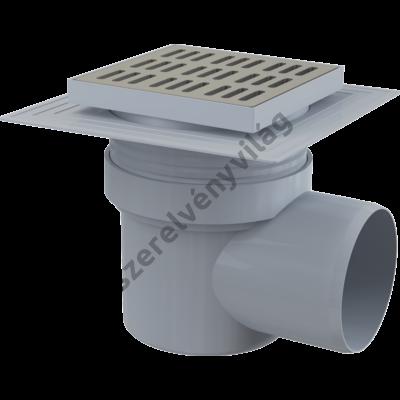 ALCAPLAST APV12 Padlóösszefolyó 150×150/110 mm vízszintes, rozsdamentes rács, karima a 2.szintű szigeteléshez, vizes bűzzára