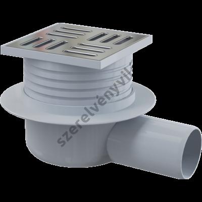 ALACPLAST APV26 Padlóösszefolyó 105×105/50 mm vízszintes, rozsdamentes rács, vizes bűzzár