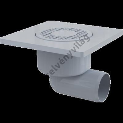 ALCAPLAST APV3 Padlóösszefolyó 150×150/50 mm vízszintes, szürke rács, vizes bűzzár