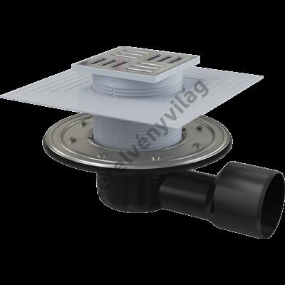 ALCAPLAST APV3344 Padlóösszefolyó 105×105/50/75 mm vízszintes, rozsdamentes rács, rozsdamentes szigetelés rögzítő karima a 2.szintű szigeteléshez, vizes és száraz bűzzár