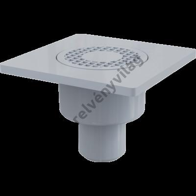 ALCAPLAST APV4 Padlóösszefolyó 150×150/50 mm függőleges, szürke rács, vizes bűzzár