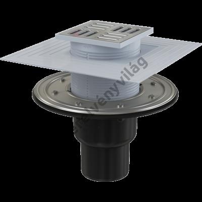 ALCAPLAST APV4344 Padlóösszefolyó 105×105/50/75 mm függőleges, rozsdamentes rács, rozsdamentes szigetelés rögzítő karima a 2.szintű szigeteléshez, vizes és száraz bűzzár
