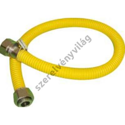"""Nyújtható bordáscső gázra 1/2""""-1/2"""" (bb) belső-belső menetes hollandival 30-60-75-150-200cm"""