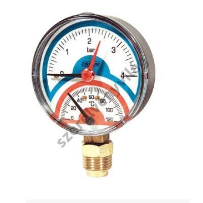 SITEM termomanométer elzáróval, alsó csatlakozással 80mm 4bar