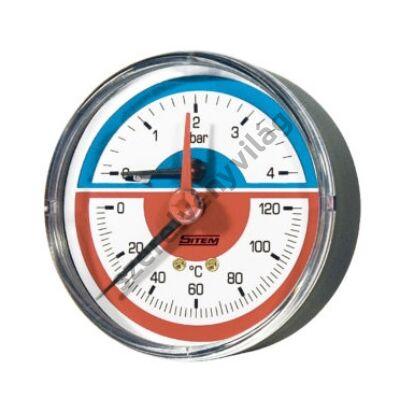 SITEM termomanométer elzáróval, hátsó csatlakozással 80mm 4bar