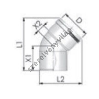 TRICOX D 80 mm-es könyök 45°